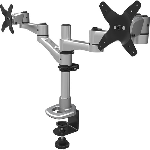 "iLuv Desk Dual Monitor Arm for Displays up to 24"" (Silver)"