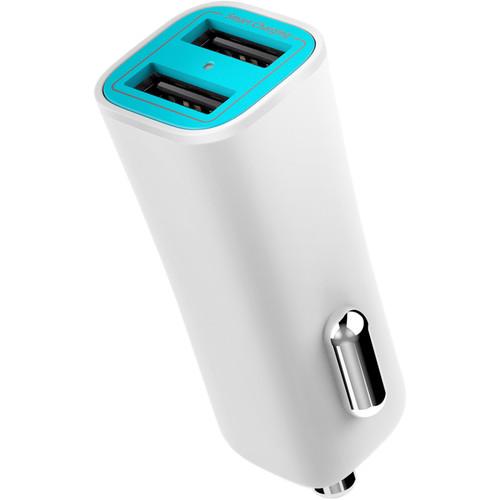 iLuv MobiSeal 2 Dual-Port USB Car Charger (White)