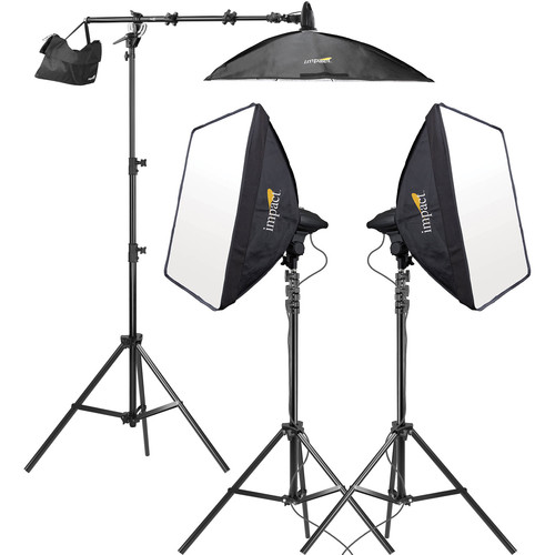 Impact 3 Head Fluorescent Lighting Kit with Boom Arm Kit