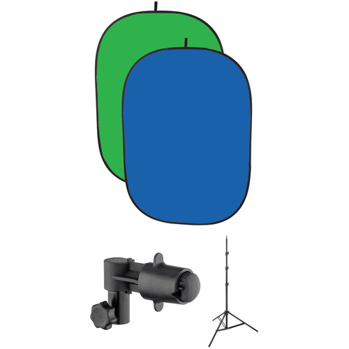Impact Collapsible 5x7' Background, Stand, and Clamp Kit (Chroma Blue/Green)