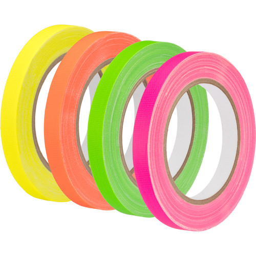 "Impact Neon Spike Tape 4-Pack (Green, Pink, Yellow, Orange, 0.5"" x 20 yd)"