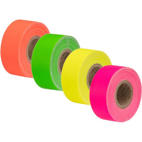 "Impact Neon Gaffer Tape 4-Pack (Green, Pink, Yellow, Orange, 1"" x 8 yd)"