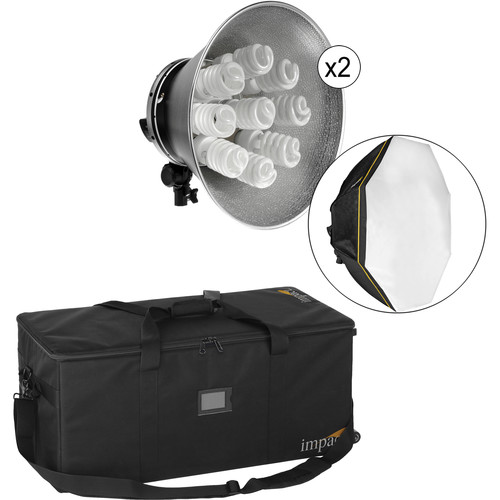 Impact Octacool-9 Fluorescent 2-Light Kit with Roller Case