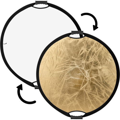 Impact Circular Collapsible Reflector with Handles (22', Gold/White)