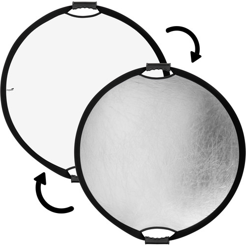 """Impact Circular Collapsible Reflector with Handles (22"""", Silver/White)"""