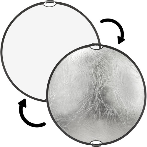 "Impact Circular Collapsible Reflector with Handles (32"", Silver/White)"
