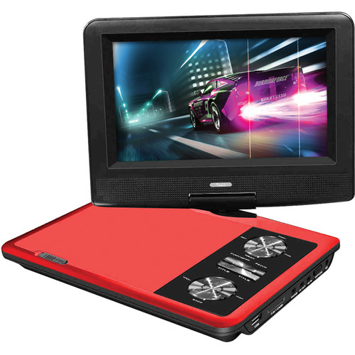 "Impecca 7"" Portable 270° Swivel DVD Player (Red)"