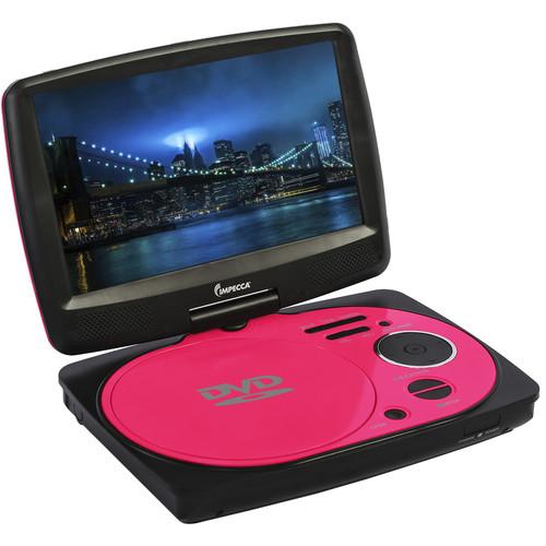 "Impecca 9"" Portable Swivel Multisystem DVD Player (Pink)"