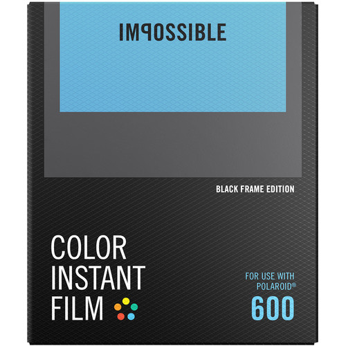 Impossible Color Instant Film for 600 (Black Frame, 8 Exposures)