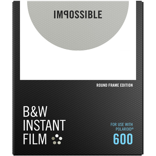 Impossible B&W Instant Film for 600 (White Round Frame, 8 Exposures)
