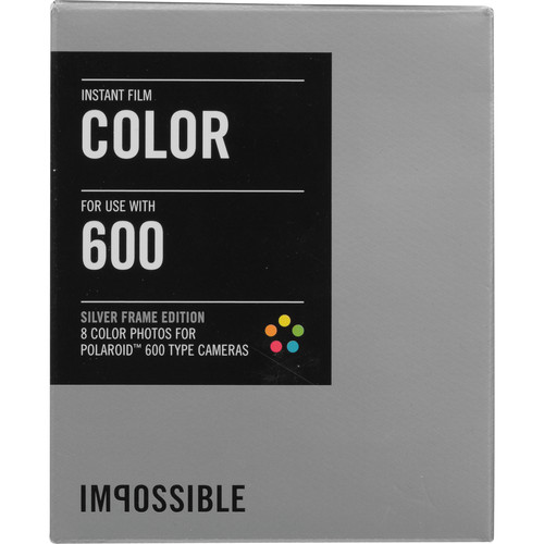Impossible Instant Color Film with Silver Frames for Polaroid 600-Type Cameras