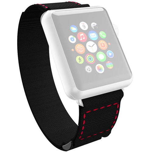 Incipio Jacquard Stitch Band for Apple Watch (42mm, Black with Red Stitching)