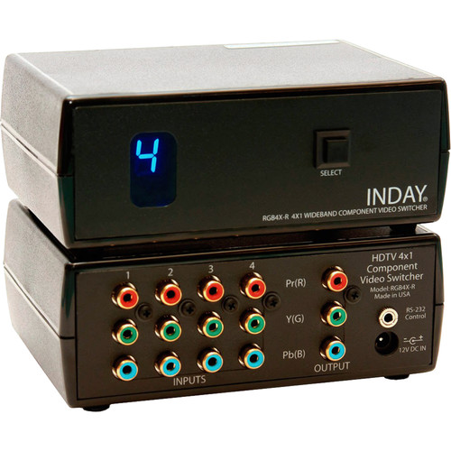Inday 4x1 Wideband Component Video Switcher with RS-232 Serial Interface