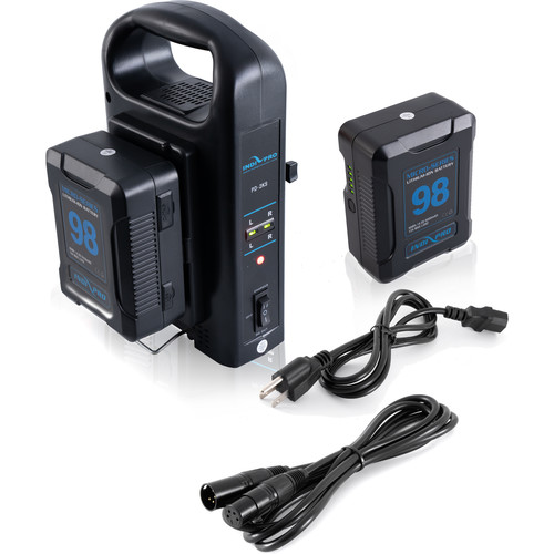 IndiPRO Tools 2 x Micro-Series 98Wh Li-Ion V-Mount Batteries with Dual V-Mount Battery Charger Kit