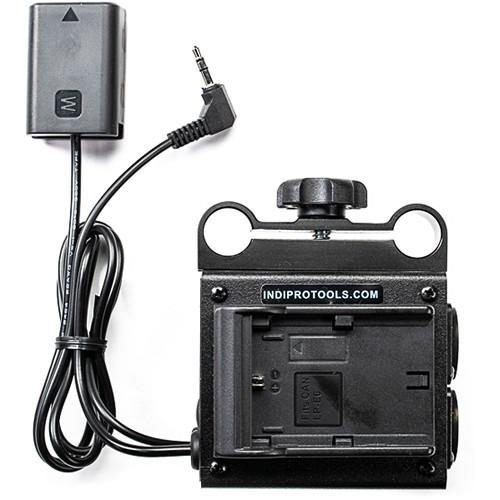 IndiPRO Tools Dual LP-E6 Power Grid & XLR Audio Box with NP-FW50 Dummy Battery (15mm Rod Bracket)
