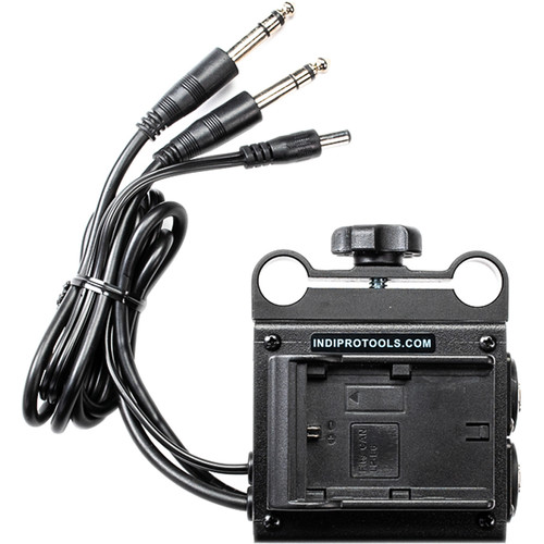 IndiPRO Tools Dual LP-E6 Power Grid & XLR Audio Box for Blackmagic Cinema & Production Camera 4K (15mm Rod Bracket)