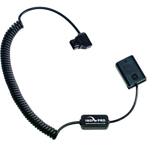 """IndiPRO Tools D-Tap to Sony NP-FW50-Type Dummy Battery Inline-Regulated Coiled Cable (22-42"""")"""
