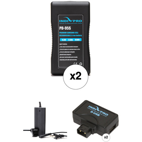 IndiPRO Tools 2 x PD-95S 95Wh V-Mount Batteries, D-Tap Charger & 2 x USB Adapters Kit