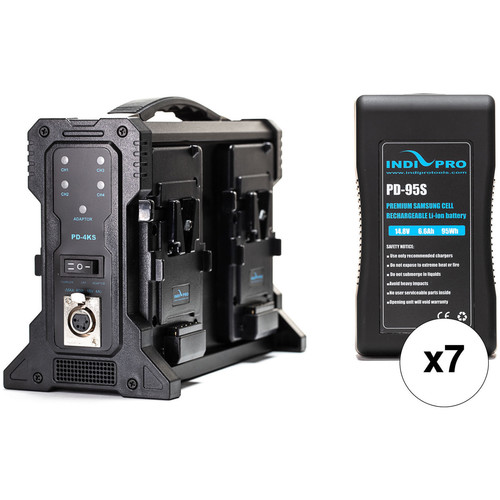IndiPRO Tools Compact 95Wh 7-Battery Kit with Quad Pro Charger (V-Mount)