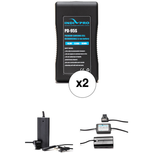 IndiPRO Tools 2 x PD-95S 95Wh V-Mount Batteries, Charger & D-Tap to Sony L-Series Adapter Kit