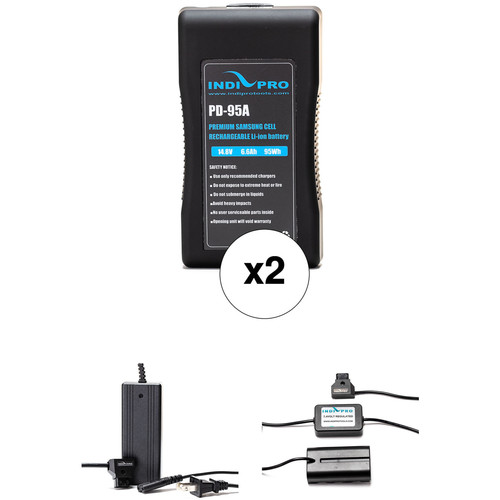 IndiPRO Tools 2 x PD-95A 95Wh Gold Mount Batteries, Charger & D-Tap to Sony L-Series Adapter Kit