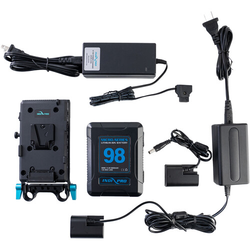 IndiPRO Tools 98Wh V-Mount Battery and Complete Power Kit for Canon LP-E6 Devices