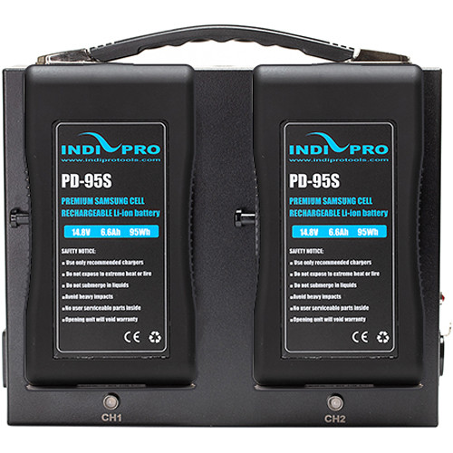 IndiPRO Tools 2x Compact 95Wh V-Mount Li-Ion Batteries with Dual Fusion V-Mount Charger