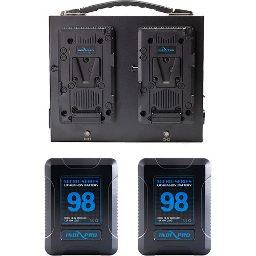 IndiPRO Tools 2x Micro-Series 98Wh V-Mount Li-Ion Batteries with Dual Fusion V-Mount Charger