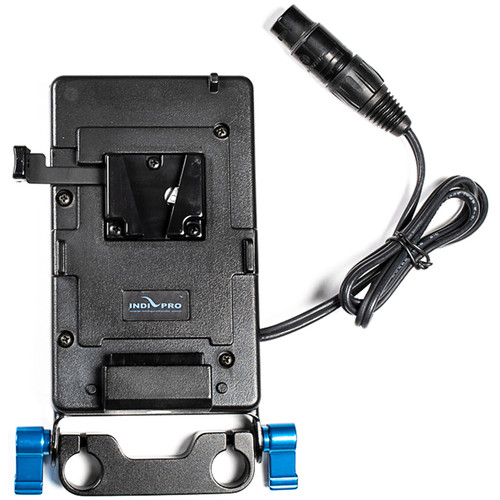 IndiPRO Tools V-Mount Plate for 4-Pin XLR Cameras & Devices (15mm Rod Bracket)