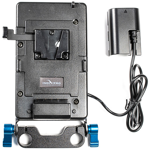IndiPRO Tools V-Mount Plate with LP-E6 Dummy Battery (15mm Rod Bracket)
