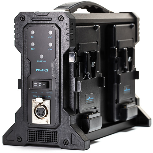 IndiPRO Tools 4-Bay Pro Battery Charger for Four V-Mount Batteries
