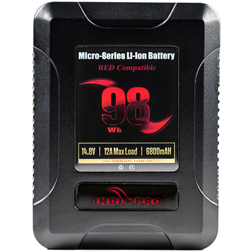 IndiPRO Tools Micro-Series 98Wh/14.8V/6800mAh V-Mount Li-Ion Battery (Red Compatible)