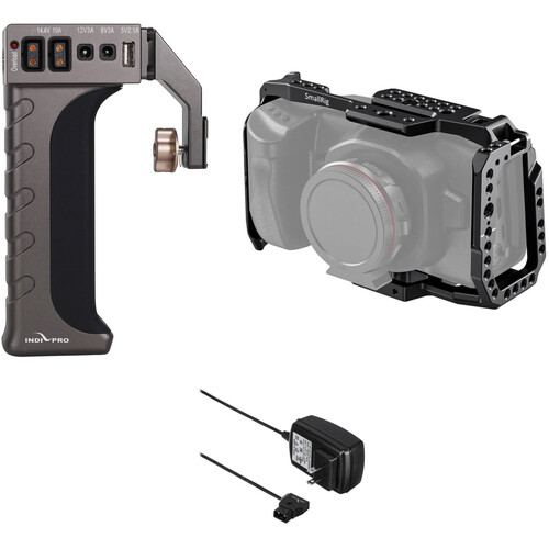 IndiPRO Tools Universal Power Grip with Cage for Blackmagic Pocket Cinema Camera 4K/6K and Charger Kit