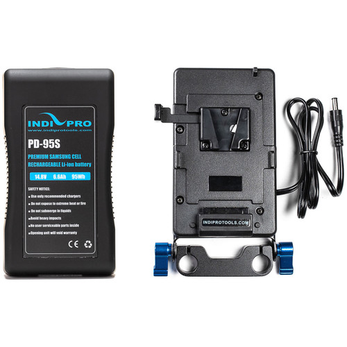 IndiPRO Tools V-Mount Battery and Plate with Blackmagic Production Camera 4K Cable Kit