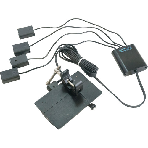 IndiPRO Tools V-Mount Plate with Super Clamp to Cable with Four NP-FW50 Type Dummy Batteries