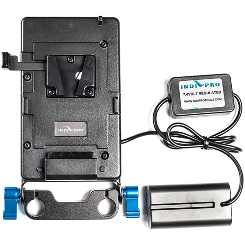 IndiPRO Tools V-Mount Plate with L-Series Dummy Battery (15mm Rod Bracket)