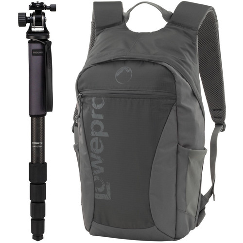 Induro GIM505XLTH4 Grand Stealth Series 5 Carbon Fiber Monopod with TH4 Tilt Head and Lowepro Photo Hatchback 16L AW Backpack (Slate Gray)