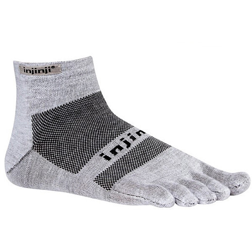 Injinji RUN 2.0 Large Lightweight Mini-Crew Toesocks (Gray)