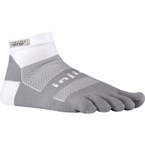 Injinji RUN 2.0 Small Midweight No-Show Toesocks (Gray/White)
