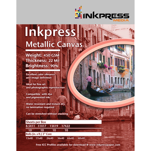 "Inkpress Media Metallic Canvas (17 x 22"", 10 Sheets)"
