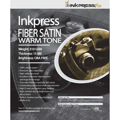 """Inkpress Media Fiber Satin Warm Tone Paper (13 x 19"""", 25 Sheets)"""