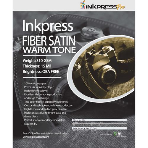 """Inkpress Media Fiber Satin Warm Tone Paper (24"""" x 50' Roll)"""