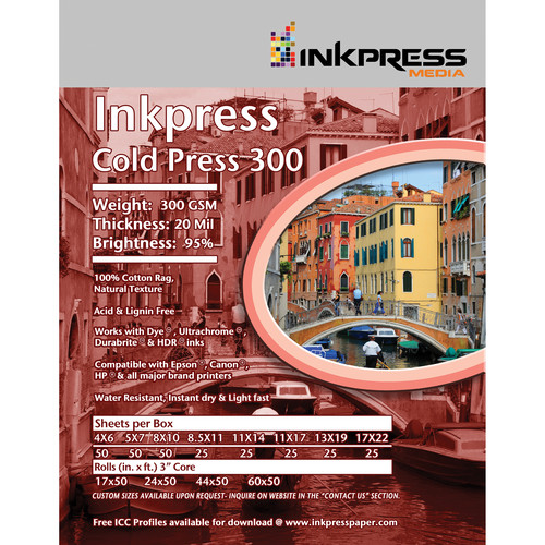 "Inkpress Media Cold Press 300 Archival Inkjet Paper (11 x 14"", 25 Sheets)"