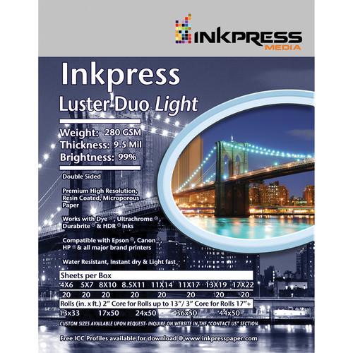 "Inkpress Media Luster Duo Light Double-Sided Photo Inkjet Paper (17"" x 50' Roll)"