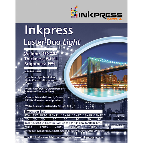 "Inkpress Media Luster Duo Light Double-Sided Photo Inkjet Paper (44"" x 50' Roll)"