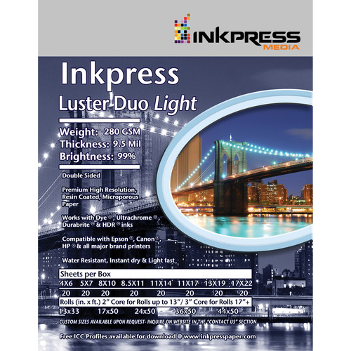 "Inkpress Media Luster Duo 280 Paper (8.5 x 11"", 25 Sheets)"