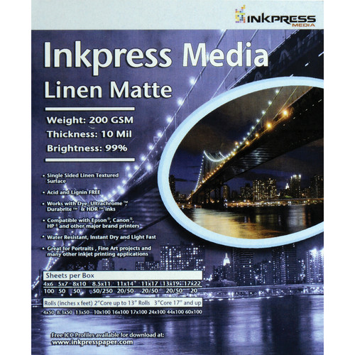 "Inkpress Media Linen Matte Paper (4 x 6"", 100 Sheets)"