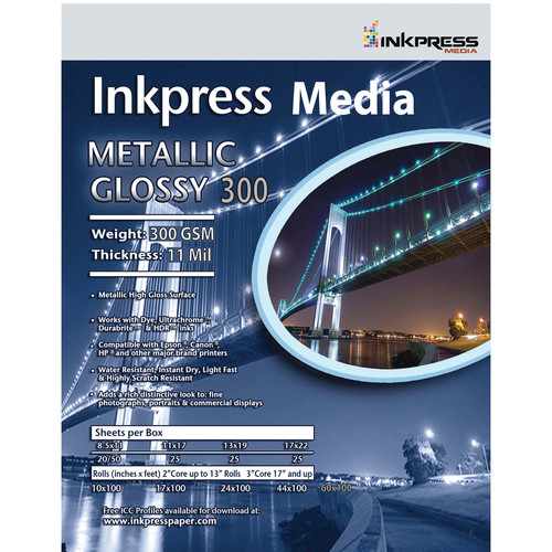 "Inkpress Media Metallic Gloss 300 Paper (13 x 19"", 25 Sheets)"