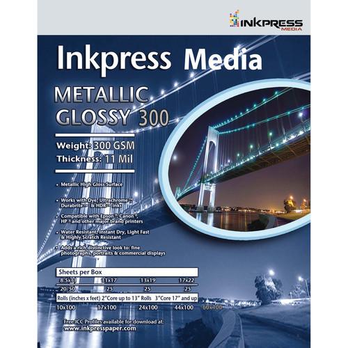 """Inkpress Media Metallic Gloss 300 Paper (24"""" x 100' Roll)"""