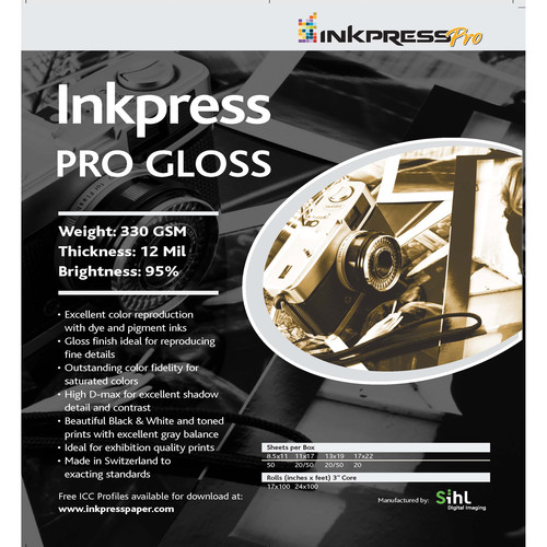 "Inkpress Media Pro Glossy Paper (11 x 14"", 50 Sheets)"